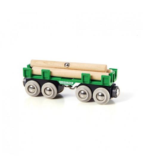 Togvogn med tømmer