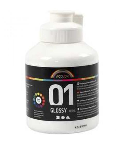 A-Color akrylmaling, 500 ml, hvid 01 - blank, hvid