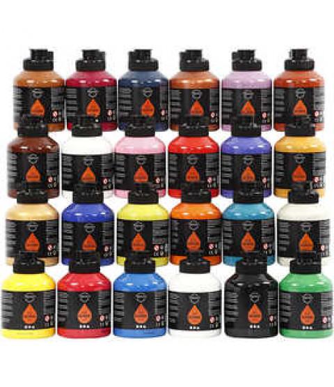 Pigment Art School, 24x500 ml, ass. farver , brun