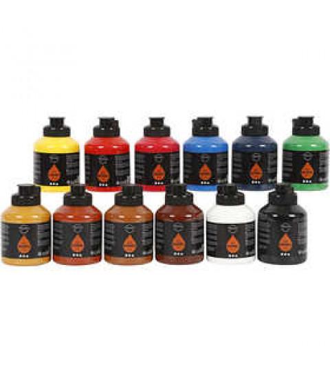 Pigment Art School, 12x500 ml, standardfarver , ass. farver