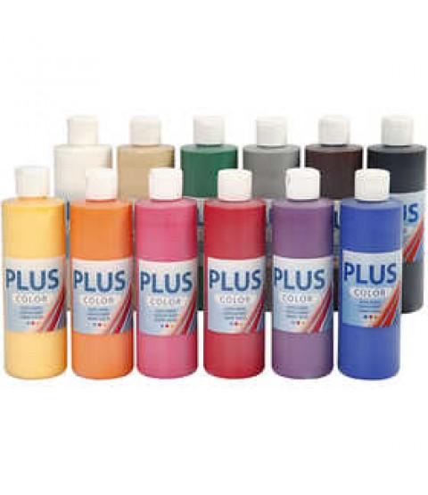 Plus Color hobbymaling, 12x250 ml classic
