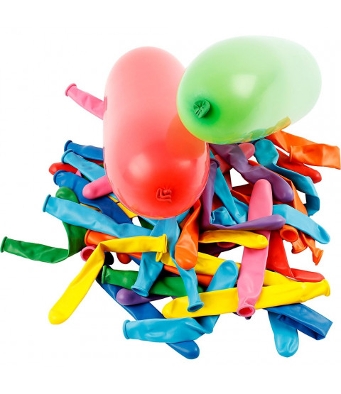 Balloner, L: 51+58 cm, ass. farver, aflange, 100ass.