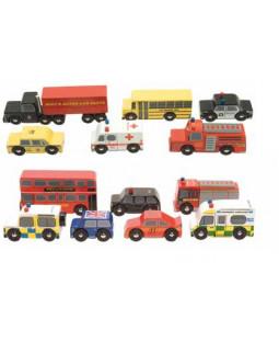 Retrobiler i træ, London & New York, 24 stk.