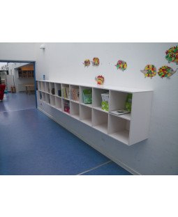 Vægreol med 6 kvadratiske rum - Birkefiner