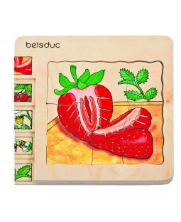 Lag på lag puslespil Jordbær