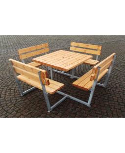 Bord/bænkesæt firkantet med ryg