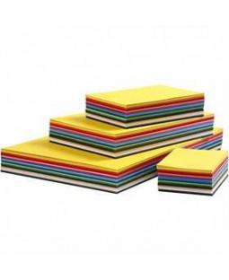 Creativ karton, A3+A4+A5+A6, 180 g, 1500 ass. ark, ass. farver , ass. farver