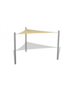 1 stk. Solsejl 3 x 3 x 3 m incl. stolper i rustfri stål / beslag