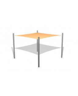 1 stk. Solsejl 3 x 3 m incl. stolper i rustfri stål / beslag
