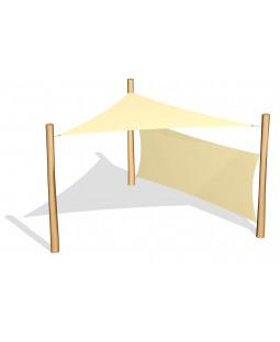 Solsejl 3,6x3,6x3,6m incl. 1 sidesejl 1,5x3,6 m og stolper/beslag