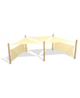 3 stk. Solsejl 3.6 x 3.6 x 3.6 m. incl. 2 sidesejl og stolper / beslag