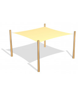 Solsejl 3.6 x 3.6 m. incl.stolper / beslag