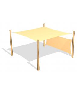 Solsejl 3.6 x 3.6 m. incl. 1 sidesejl og stolper / beslag
