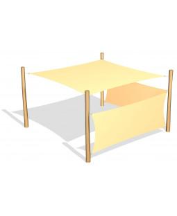 Solsejl 3.6 x 3.6 m. incl. 2 sidesejl og stolper / beslag