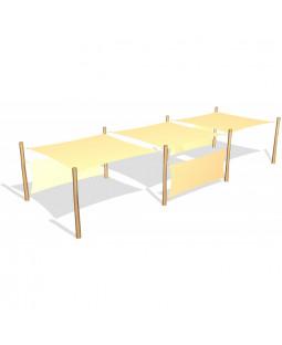 3 stk. Solsejl 3,6 x 3,6 og 3 sidesejl 1,5 x 3,6 m