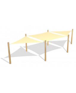 1 stk. Solsejl 3.6 x 3.6 m. og 2 stk. 3.6 x 3.6 x 3.6 m. incl.stolper / beslag