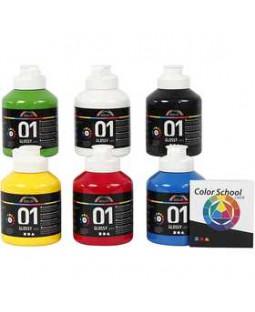A-Color akrylmaling - farveskole, 6x500 ml, primærfarver 01 - blank, primær farver