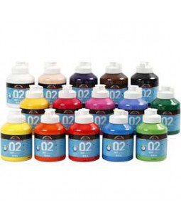 A-Color akrylmaling, 15x500 ml 02 - mat