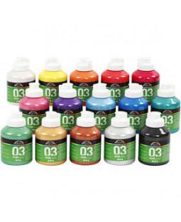 A-Color akrylmaling, 15x500 ml, ass. farver 03 - metallic, ass. farver