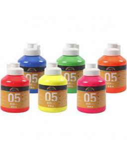 A-Color akrylmaling, 6 stk. x 500 ml, ass. neonfarver