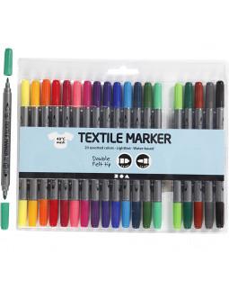 Tekstiltusch, stregtykkelse: 2,3+3,6 mm, 20 stk., ass. farver , ass. farver