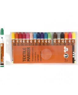 Tekstiltusch, 2-4 mm streg, 18 stk., ass. farver , ass. farver