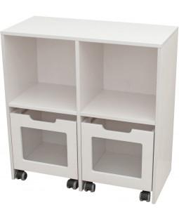 Skabsreol med 2 rum og 2 kasser på hjul - Birkefiner