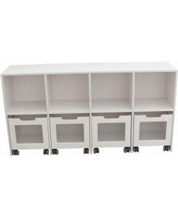 Skabsreol med 4 rum og 4 kasser på hjul - Birkefiner