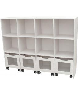 Skabsreol med 8 rum og 4 kasser på hjul - Birkefiner