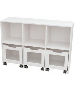 Skabsreol med 3 rum og 3 kasser på hjul - Birkefiner