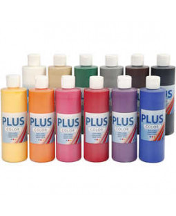 Plus Color hobbymaling, 12x250 ml classic