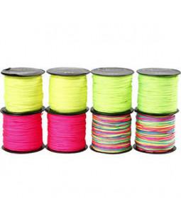 Knyttesnor - sortiment, tykkelse 1 mm, 8x28 m, neonfarver , ass. farver