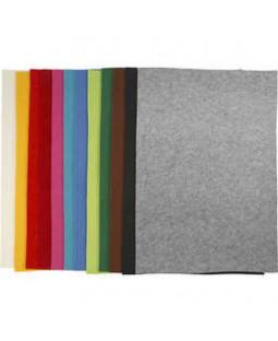 Hobbyfilt, ark 42x60 cm, tykkelse 3 mm, 12 ass. ark, ass. farver , ass. farver