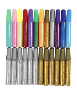 Glitterlim, 24 stk., ass. farver
