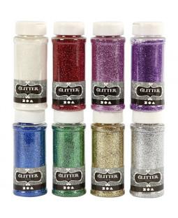 Glitter, 8x110 g, ass. farver