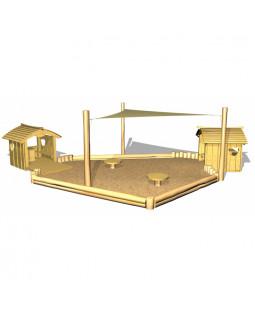 2 stk. Legehuse Bjørnebo med sandkasse, sandborde og solsejl