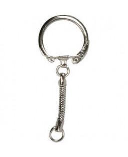 Nøglering med kæde, dia. 2,3 cm, L: 6 cm, 25 stk.