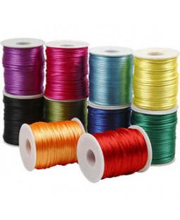 Satinsnor - sortiment, dia. 2 mm, 10x50 m, stærke farver , ass. farver