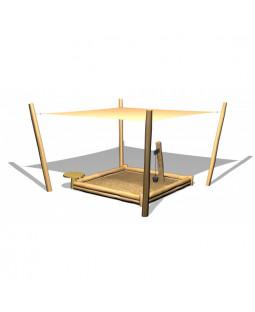 Robinia sandkasse m/solsejl, sandkran og sandbord