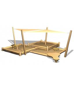 """Robinia sandkasse, med solsejl, sandbord/gulv og """"køkken"""""""