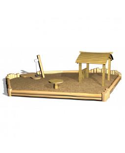 Robinia sandkasse m/legehus, sandbord og gulv