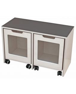 Bænk med 2 kasser på hjul