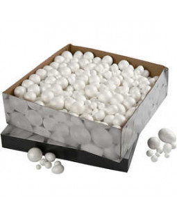 Styroporkugler og -æg, str. 1,5-6,1 cm, 550 ass.