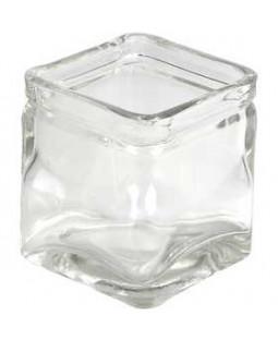 Firkantet lysglas, str. 7,5x7,5 cm, H: 8 cm, 12 stk.