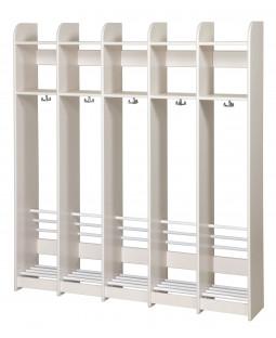 Garderobe i birk u. bænk - 5 sektioner