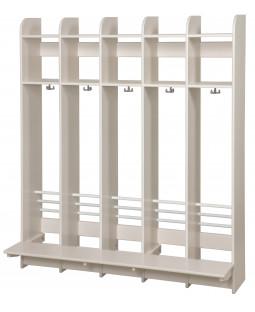 Garderobe i birk m. bænk - 5 sektioner