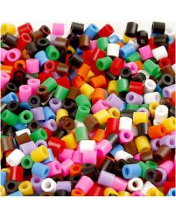 Rørperler, str. 5x5 mm, hulstr. 2,5 mm, 20000 ass., standardfarver medium, ass. farver