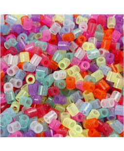 Rørperler, str. 5x5 mm, hulstr. 2,5 mm, 20000 ass., glitterfarver medium, ass. farver