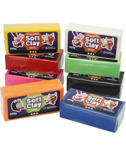 Soft Clay Modellervoks, str. 13x6x4 cm, 8x500 g, ass. farver , ass. farver