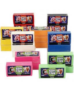Soft Clay Modellervoks, str. 13x6x4 cm, 24x500 g